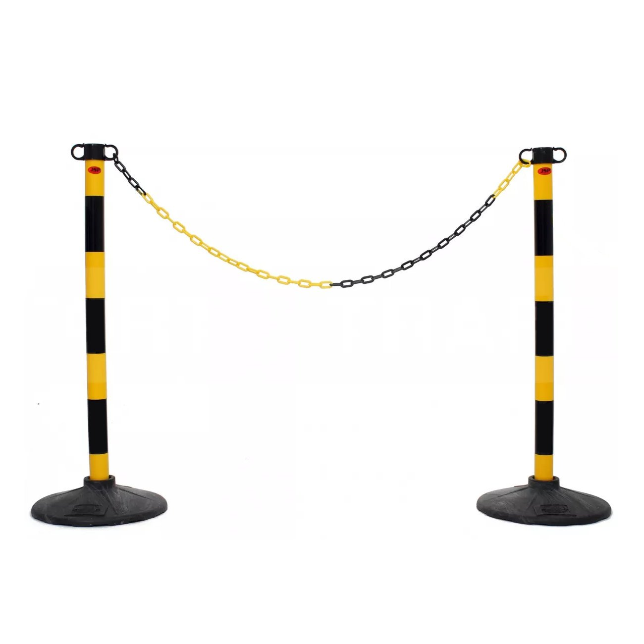 JSP Yellow & Black Post and Base Safety Security Queue Crowd Barrier System for Plastic Chain