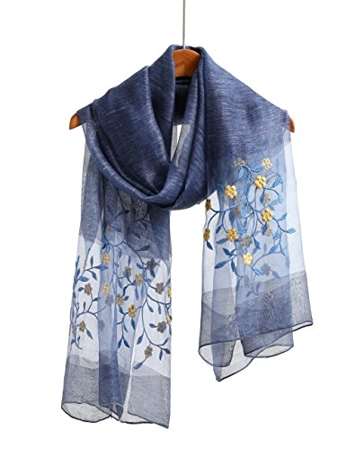 Lightweight Silk Wool Scarf/Shawl/Wrap/Sheer For Women Embroidered Scarves And Wraps For Prom Party (Navy) ()