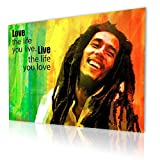 """Alonline Art - Bob Marley Jamaican Reggae Singer Quote Alonline Designs PRINT On CANVAS (100% Cotton, UNFRAMED Unmounted) 27""""x20"""" - 68x51cm Oil Painting Print Canvas For Home Decor Paintings"""