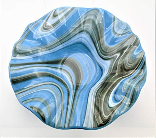 Decorative Bowl of Light Blue and Purple Swirls with a Ruffled Rim Handcrafted Fused Glass