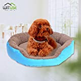 YCDC Washable Puppy Dog Cat Pet Nest Sleeping Bed, Cozy Polar Fleece Sky Blue Puppy Pad, Size L, 22.8×19.7×3.9""