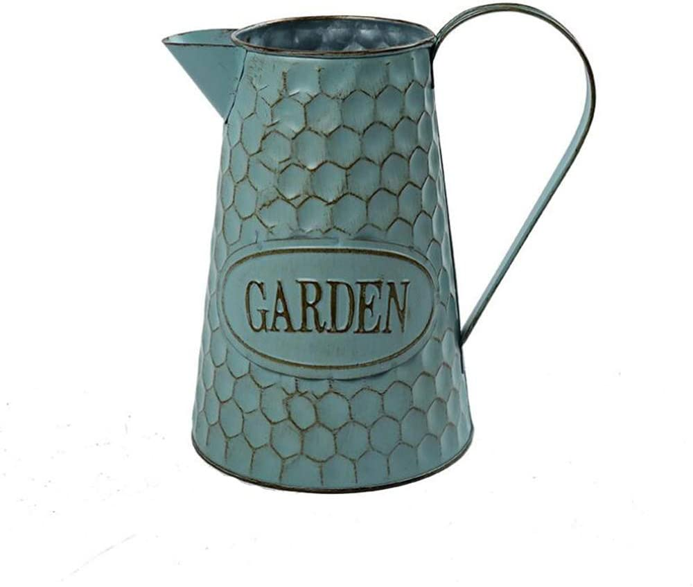 Watering Honey 9 inch Creative Shabby Chic Rustic Style Metal Pitcher Flower Vase Primitive Jug with Honeycomb Printing for Home Kitchen Cafe Decor-Large