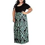 Pongfunsy Womens Summer Dress Women Striped Long Boho Dress Lady Beach Sundrss Maxi Dress 2019 Black (XL, Green 9)