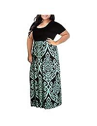 BOLUOYI Women's Chevron Print Summer Short Sleeve Plus Size Casual Long Maxi Dress