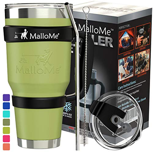 (MalloMe Stainless Steel Vacuum Insulated 6-Piece Tumbler Set, Olive Army Green 30 oz)