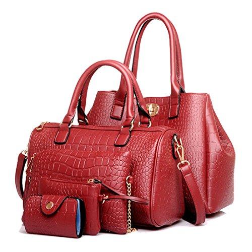 Bags Multi of Classic Leatherette Pack Design 4 Leather Shoulder Burgundy Handbag Purse purpose Women Patent wfIRqdEqx