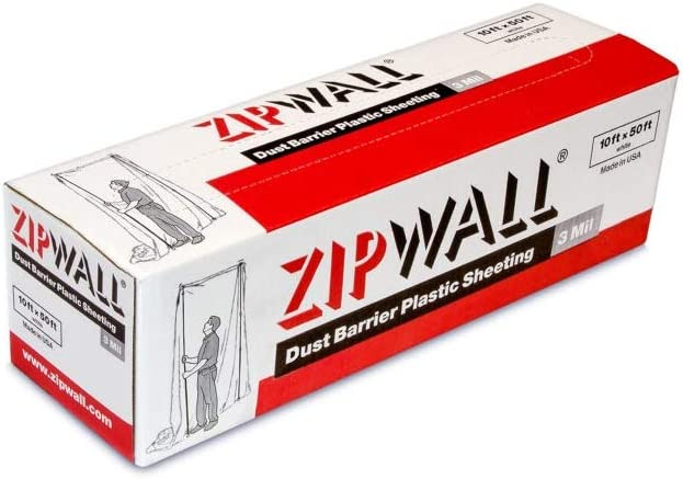 ZipWall PY50 Dust Barrier Plastic Sheeting, Clear