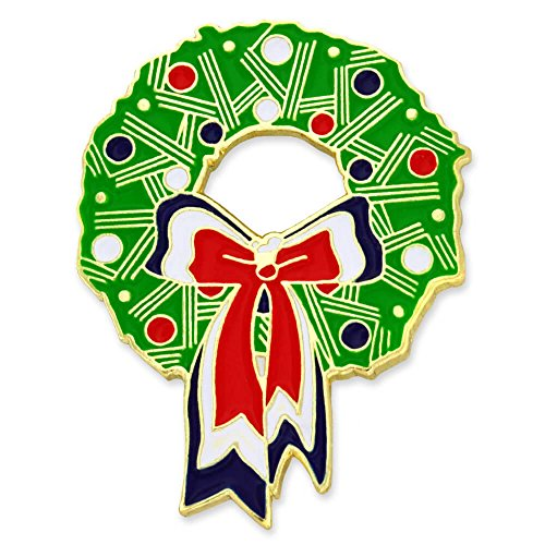 PinMart Festive Christmas Wreath Holiday Enamel Lapel Pin