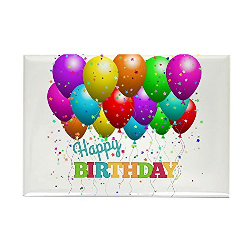 CafePress Trendy Happy Birthday Balloons Magnets Rectangle Magnet, 2
