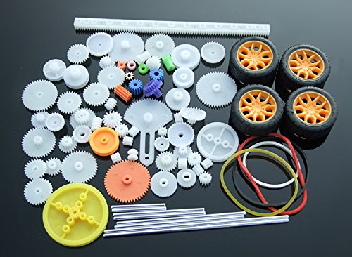 Lanyani 78pcs Plastic Gear Kit DIY Gear Assortment set for Toy Motor Car Robot Various Gear Axle Belt Bushings