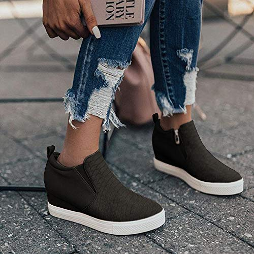 Chenghe Women's Platform Wedge Sneakers Fashion High Top Wedge Booties Slip On Side Zipper Casual Wedge Shoes