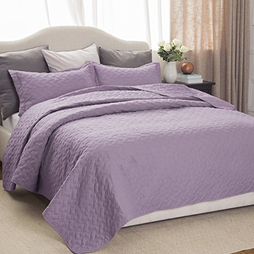 bedding set quilt queen lavender