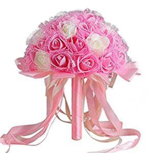 Wedding Bouquet,YJYdada Crystal Ribbon Roses Bridesmaid Wedding Bouquet Bridal Artificial Silk Flowers (B) 64