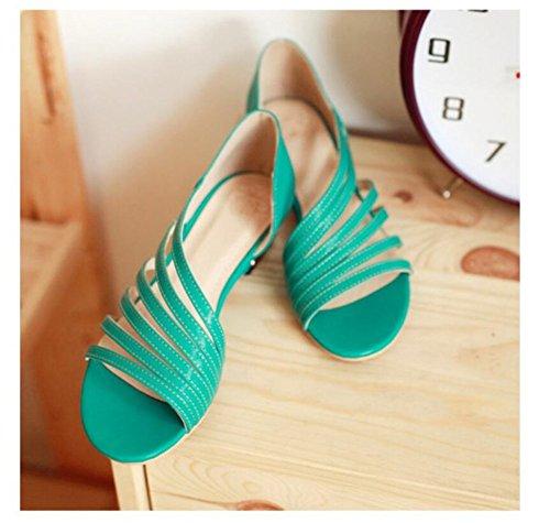 Asakuchi Casual Cómodo LJO de green Mujer Sandalias Verano Zapatos Cabeza Moda Plana Ronda qxvxw8arnz
