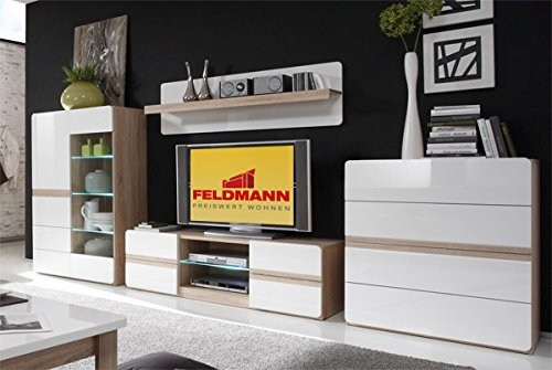 wohnwand anbauwand 54801 4 teilig sonoma eiche wei hochglanz g nstig bestellen. Black Bedroom Furniture Sets. Home Design Ideas
