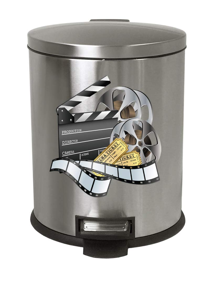 The Furniture Cove 1.3 Gallon Oval Stainless Steel Step Trash Can Waste Basket Featuring Your Choice of a Novelty Themed Logo! (Movie Reel)