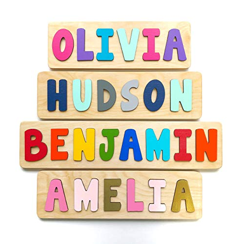 Wooden Name Puzzle, Gift for Baby or Toddler, Handmade in the USA - Custom Wood Puzzle