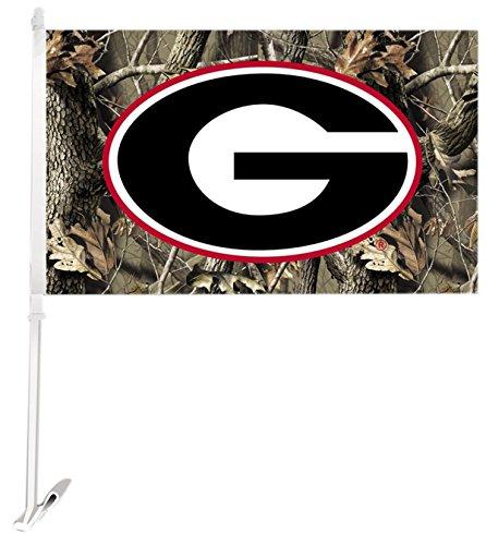 (NCAA Georgia Bulldogs Car Flag G Camo with Free Wall Bracket)