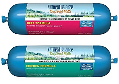 Natural Balance Rolled Dog Food 2 Flavor Variety Bundle: (1) Beef and (1) Chicken, 16 Ounces Each (2 Rolls Total) by Natural Balance