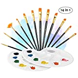14 Pieces Paint Brushes, ATMOKO Artist Paint Brushes Set include 2 Palettes for Watercolor, Acrylic & Oil Paintings, Perfect for Painting Canvas, Ceramic, Clay, Wood & Models, Great Gift for Kids, Artists and Amateurs, black