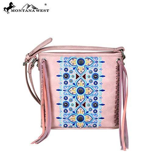 Womens Embroidered Montana Collection West Pink MW705 8360 Purse Crossbody wCBU5UqR