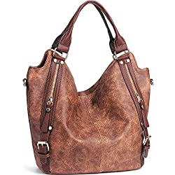 JOYSON Women Handbags Hobo Shoulder Bags Tote PU Leather Handbags Fashion Large Capacity Bags Coffe