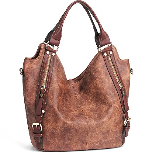 JOYSON Women Handbags Hobo Shoulder Bags Tote PU Leather Handbags Fashion Large Capacity Bags Coffe Large Hobo Tote Handbag