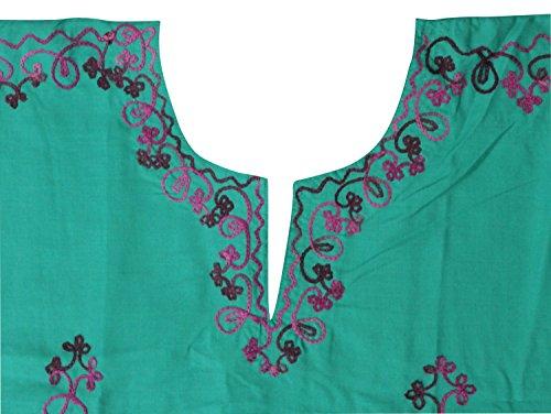 La Leela dames brodé tout en 1 rayonne tunique robes top soir occasionnels habillage robe de maternité bikini kimono maillots de bain couvrir loungewear beachwear short lumière caftan vert