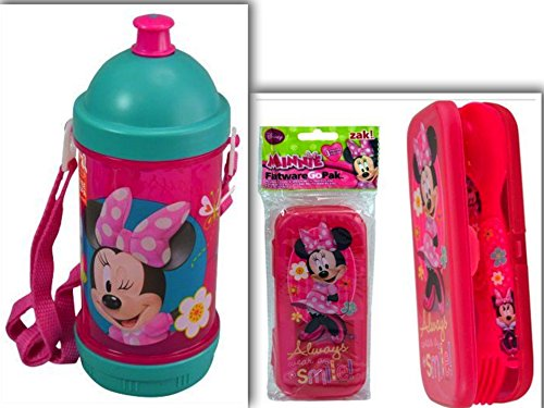Adorable Disney Minnie Mouse Lunchtime, Dining, & Back to School Bundle: 2 Items- BPA Free Sip-N-Snack Canteen & FlatwareGoPak