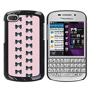 FlareStar Colour Printing Bow Pink Bowtie Pattern Black Fashion cáscara Funda Case Caso de plástico para BlackBerry Q10