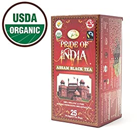 Pride Of India - Organic Bagged Tea Boxes 25 100% Organic & fairly traded Strong energizing breakfast black tea Pure Assam tea certified by the Indian tea board
