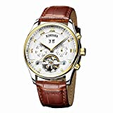 Men Automatic Watch,Leather Strap Design Classic Wrist Watches Luxury Steampunk Skeleton Watch