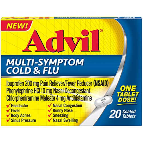 Advil Multi-Symptom Cold & Flu Coated Tablet 200 mg Ibuprofen, 20 Count (Best Medicine For Sinus Congestion)