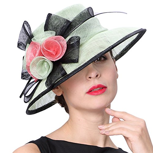 Koola's hats Women Hats 3 Layers Sinamay Wedding Hats Mint Black Sun Hat Saratoga Race Course