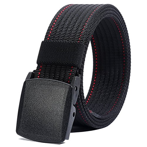 - Nylon Belt Men, Military Tactical Belt with YKK Plastic Buckle, Durable Breathable Waist Belt for Work Outdoor Sports,Adjustable for Pants Size Below 46inches[53