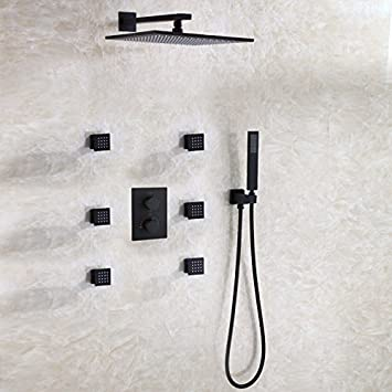 Matte Frosted Black Thermostatic Bathroom Shower Faucet Set with 12 ...