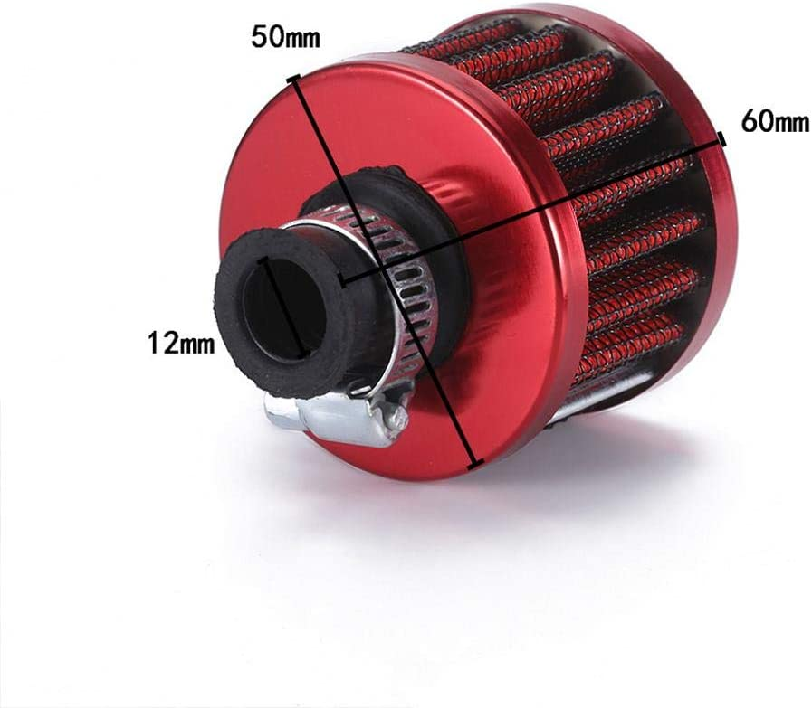 Round Non-Woven Open Top Sports Air Filter Koojawind/ Universal Neck Performance Cone Air Filter Carbon Fibre High Quality Mini Crankcase Oil Air Breather Filter 12Mm