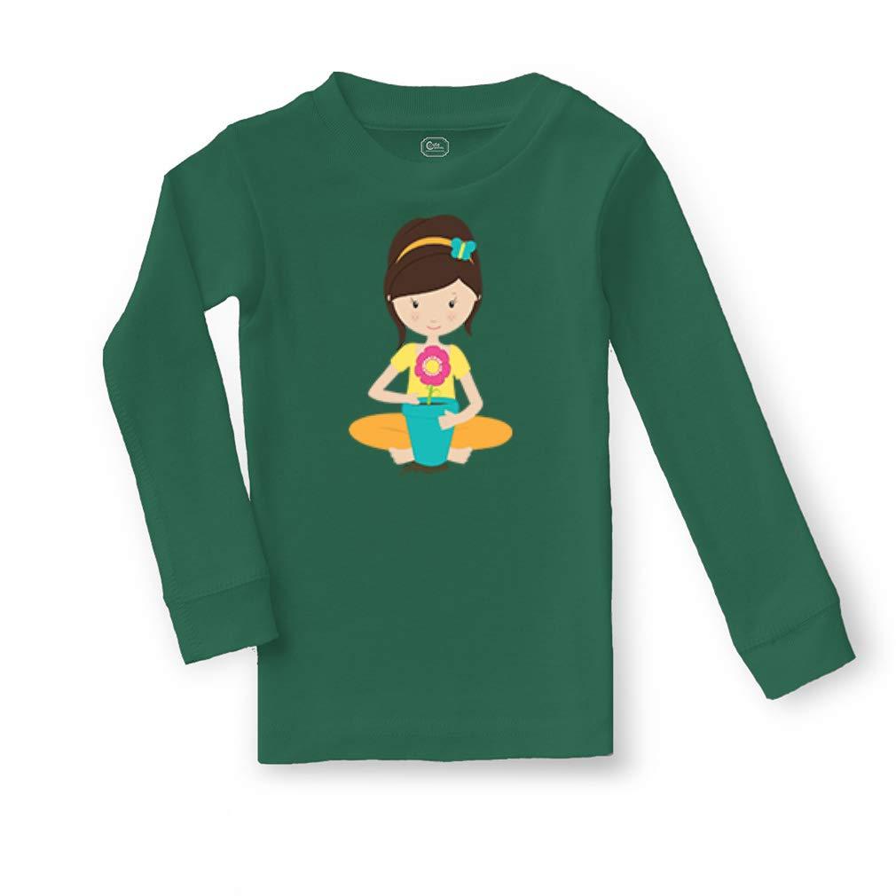 Garden Girl Flower Cotton Crewneck Boys-Girls Sleepwear Pajama 2 Pcs Set