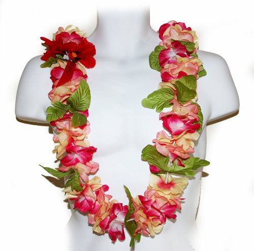 The Pink & Yellow Hawaii Artificial Flower Full (Silk Floral Lei)