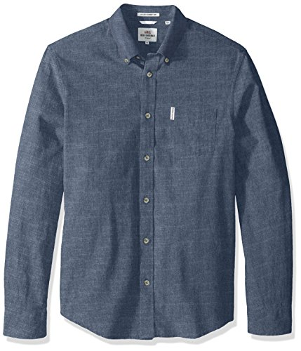 Ben Sherman Men's Longsleeve Chambray Woven Shirt, Navy Blazer, - Sherman Shop Ben