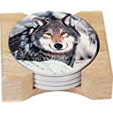 CounterArt Patient Wolf Design Round Absorbent Coasters in Wooden Holder, Set of 4
