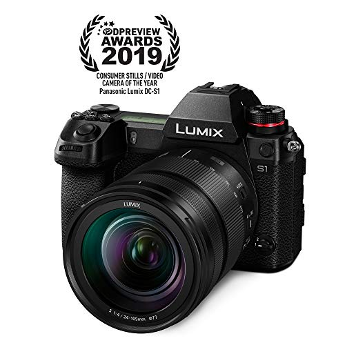 "Panasonic LUMIX S1 Full Frame Mirrorless Camera with 24.2MP MOS High Resolution Sensor, 24-105mm F4 L-Mount S Series Lens, 4K HDR Video and 3.2"" LCD - DC-S1MK"