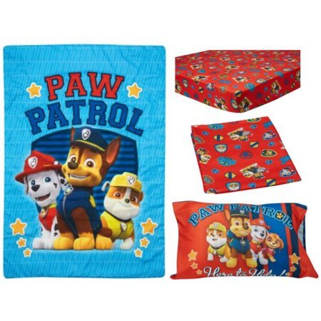4 Piece Kids Blue Red Paw Patrol Toddler Bed Set, Yellow Brown Pawpatrol Bedding Super Hero Themed Comforter Marshall Rubble Chase Dogs Pattern Sheets Fitted Sheet Bedroom Children Bed Child Polyester