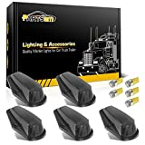Partsam 5X Cab Marker Lights Roof Running Lamps Black Lens Covers + 5050 Amber 194 168 T10 LED Bulbs Replacement for 1973-1997 Ford F150 F250 F350 F Super Duty Pickup Trucks