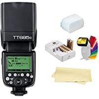 Godox Thinklite TT685C TTL E-TTL 2.4GHz GN60 High Speed Sync 1/8000s Wireless Master Slave Camera Flash Speedlite Speedlight Compatible Canon Cameras+44AA Batteries&Charger