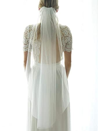 Heread 1 Tier Bride Wedding Veil Ivory Fingertip Length Short Bridal Tulle Veils with Comb and Cut Edge for Women and Girls