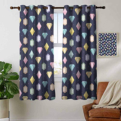 Curtains for Bedroom Colorful,Graphic Gemstones with Different Shapes Trillion Drop and Marquise Cut Pattern,Multicolor,Darkening and Thermal Insulating Draperies 42
