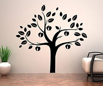 Wandtattoo XXL Baum Äpfel Apfelbaum Aufkleber Äste Blätter Kinderzimmer  Deko Wald Wandsticker Wohnzimmer 1E139, Breite