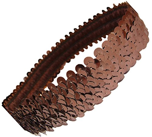 Kenz Laurenz Sequin Headbands Elastic Stretchy Headband for Girls Kids Women Flapper Roaring 20s Great Gatsby 1920s Hair Band Cute Princess Head Bands - Brown Gatsby