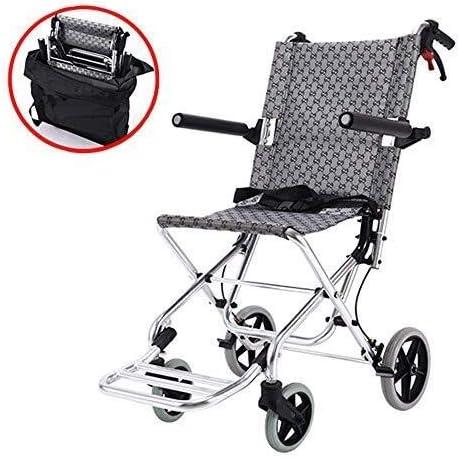 H-Silla De Ruedas HJH Transporte Fácil plegado de la silla de ruedas, transporte ligero en silla de ruedas con frenos de la silla, reposapiés, bolsa de transporte, el transporte de silla de ruedas, de